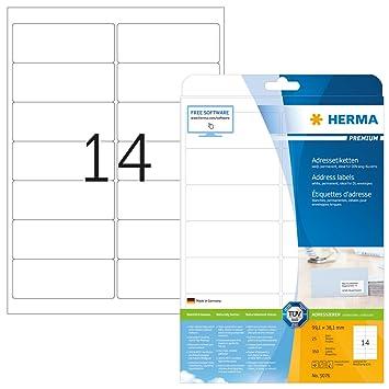Papier weiß selbstklebend 100 Blatt 1600 Etiketten A4 Bogen 99 x 34 mm
