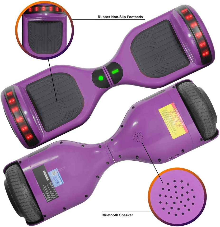 UL Certified LONGTIME 6.5 Hoverboard Self Balancing Scooter with LED Lights Flashing Wheels
