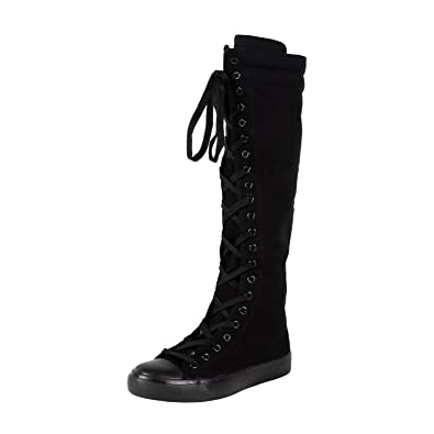 Amazon.com | West Blvd Womens Sneaker Knee High Lace Up Boots ...