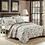 queen quilt birds - HNNSI 3 Piece Cotton Comforter Quilt Set Queen Size, Flying Birds and Flowers Printing Bedspread Comfortable Bedding Sets