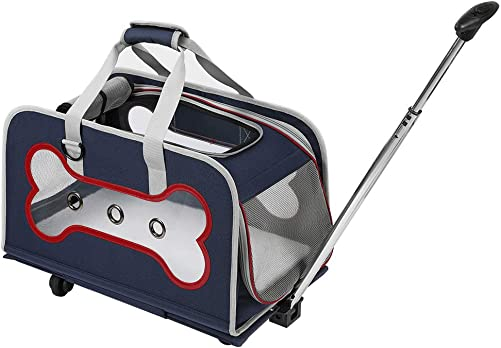 YOUTHINK PVC Bone Shape Rolling Pet Carrier, Detachable Wheeled Travel and Outdoor Carrier for Pets up to 20 lbs, with Extendable Handle Washable Fleece Bed, 20 x 11 x 11 – Navy