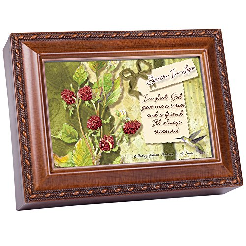 Cottage Garden Sister in Law Glad God Gave Me You Woodgrain Rope Trim Jewelry Music Box Plays Wonderful World (Best Sister In Law In The World)