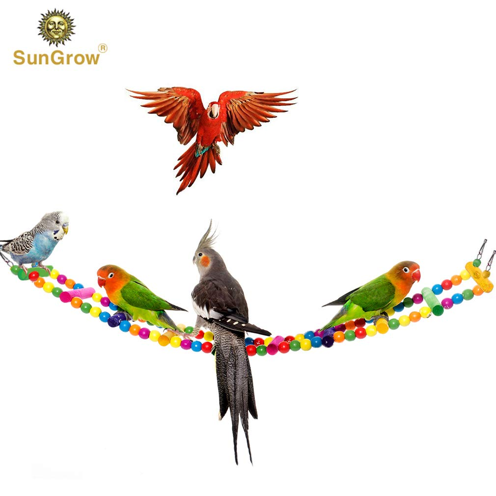 SunGrow Colorful Bird Ladder Bridge, 31 Inches Long, Made with Unprocessed Wood and Edible Dye, Helps Birds with Balance, Ideal Exercise and Fun Accessory for All Birds by SunGrow
