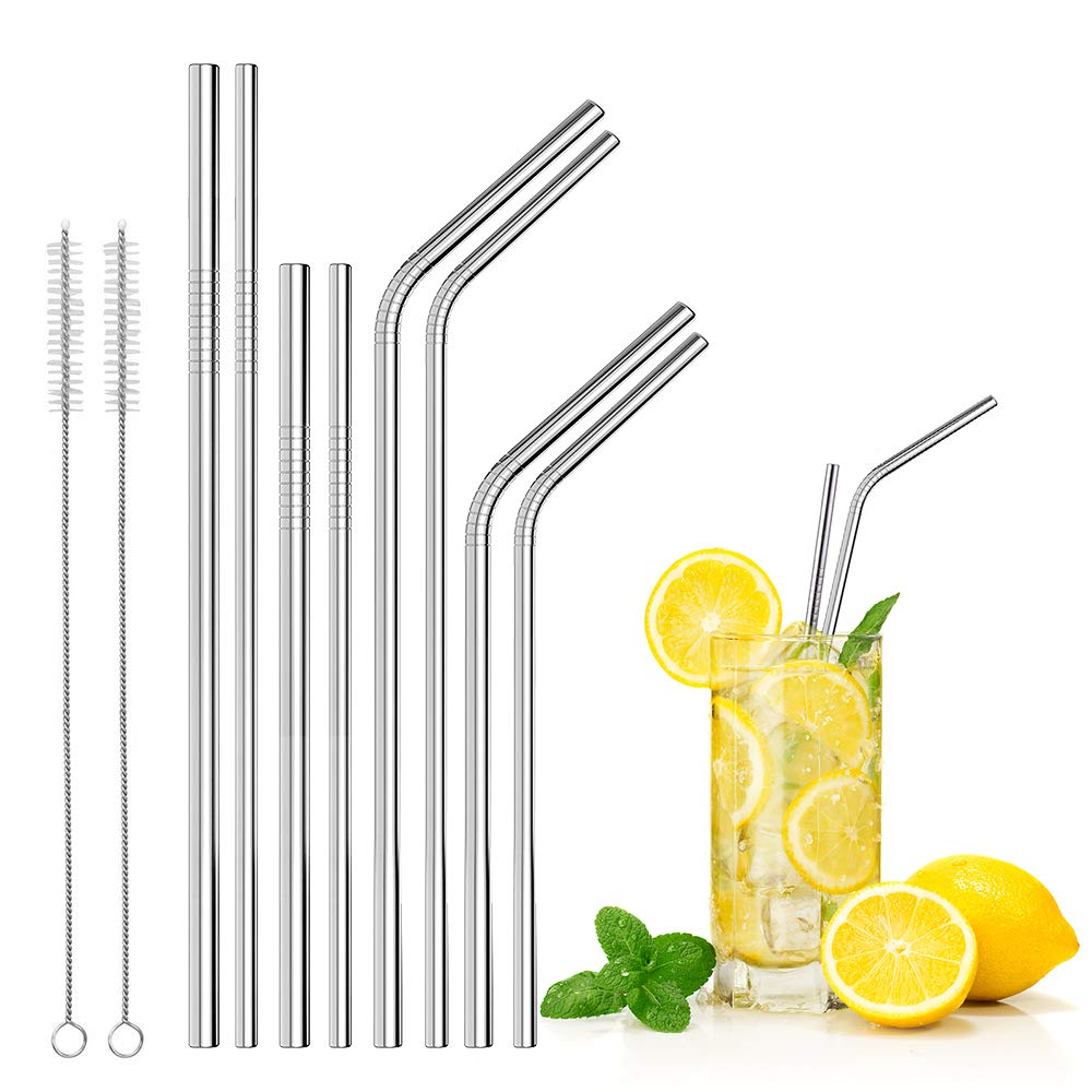 Reusable Straws, 8 Pcs Stainless Steel/ Metal Drinking Straw, JingXiGuoJi Two Different Diameters(0.31/0.24), 8.5/10.5 inch Straws,- Bent, Straight and Smoothie Straws, 2 Pcs Cleaning Brushes, Fits 20 oz and 30 oz Tumblers