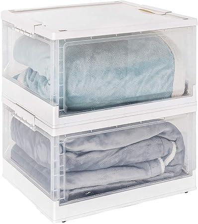 Yorbay Cajas de Plastico Almacenaje, Transparente con Tapa con Ruedas, Apilable y Plegable 40L x 2 Blanco: Amazon.es: Hogar