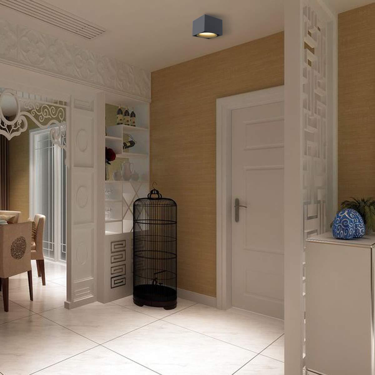 LANBOS 10W Lámpara de techo LED,Foco LED para techo,Focos de techo,Lámpara de salón,Luz de techo led,Plafón con Focos,luz blanco cálido, 3000K,IP20, ...