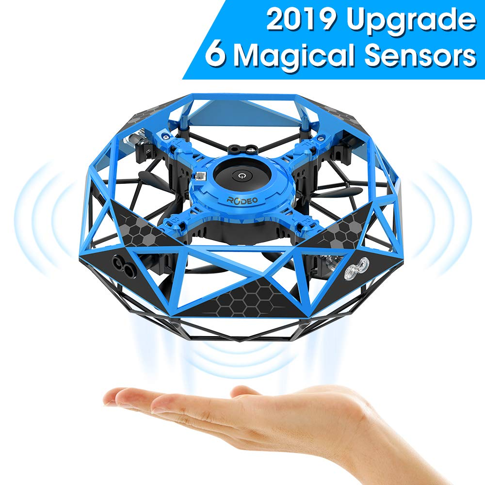 Hand Operated Drone for Kids Toddlers Adults, Rodeo Hands Free UFO Flying Toys for Boys and Girls, Hand Controlled Mini Drones Covered with 6 Infrared Sensors, Self Flying UFO Party Game Toys by shimu