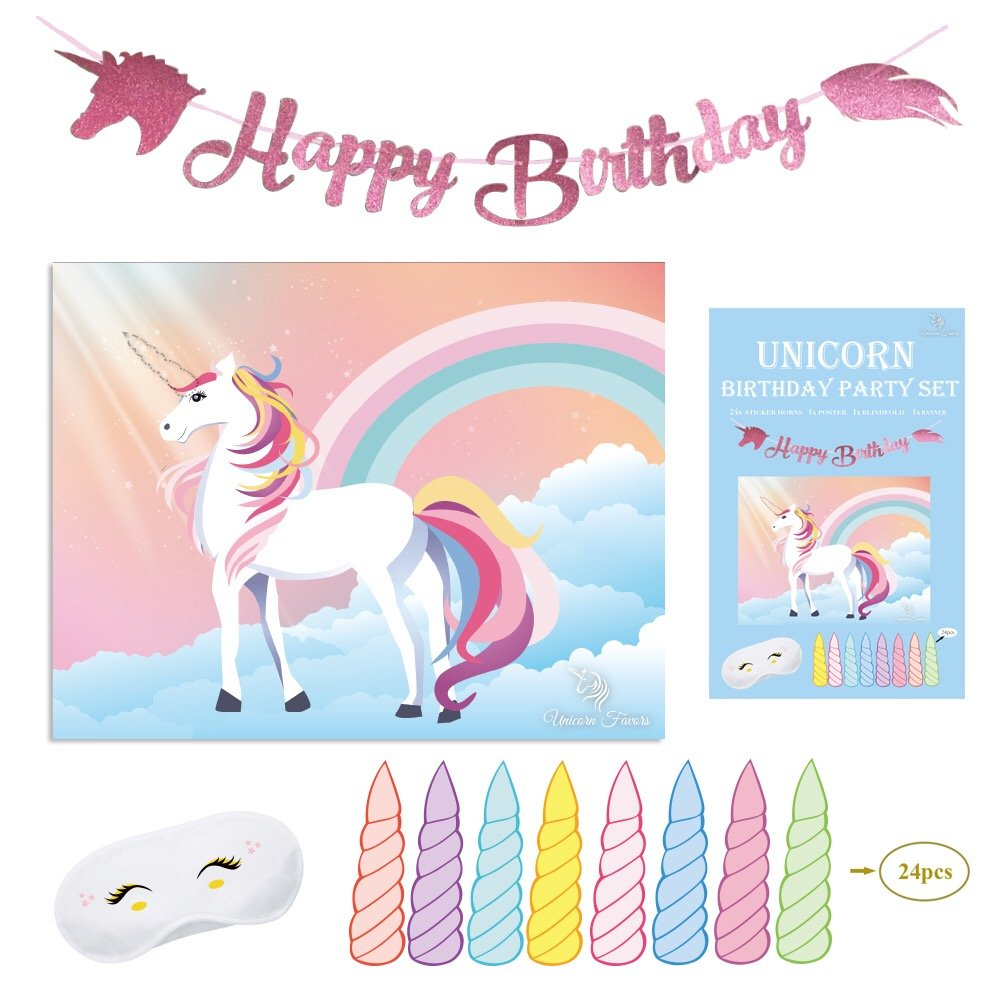 Unicorn Favors Pin The Horn On The Unicorn Birthday Game - Unicorn Party Supplies With BONUS Glitter Happy Birthday UNICORN BANNER Decorations by (Pink)