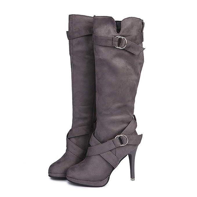 Memefood Botas Mujer Elasticas Altas Con Altos Tacón Fino Zapatos Con Plataforma De Rebaño De Calentar Piel Forro Botines De Altos Tacón De Moda Con ...