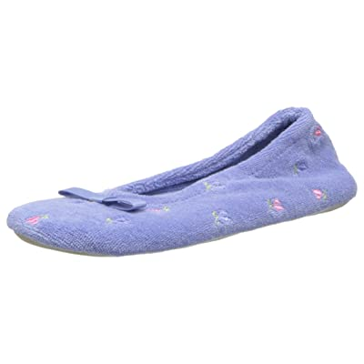 Isotoner Women's Signature Terry Floral Embroidered Ballerina Slipper | Slippers