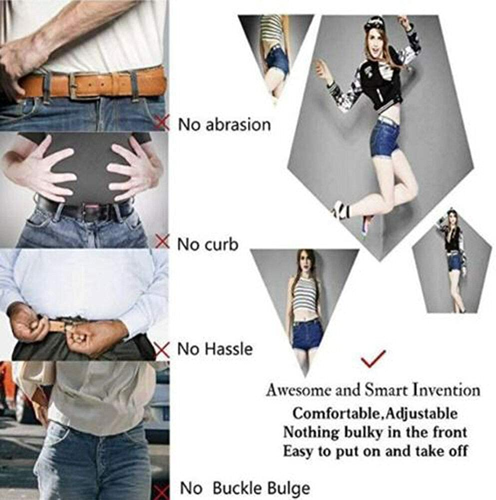 Boolavard No Buckle Stretch Belt For Women//Men Elastic Waist Belt Up to 48 for Jeans Trousers
