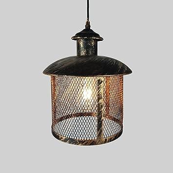 WSHceilinglamp E27 Industrial Retro Style Metall Korb Käfig Decke Anhänger  Licht Küche Hängende Decke Lampe Für
