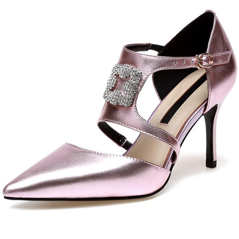 Hochhackige Sandalen Europa Und Amerika Mode Wies Baotou Strass Quadratische Schnalle Mit Vier Jahreszeiten Schuhe