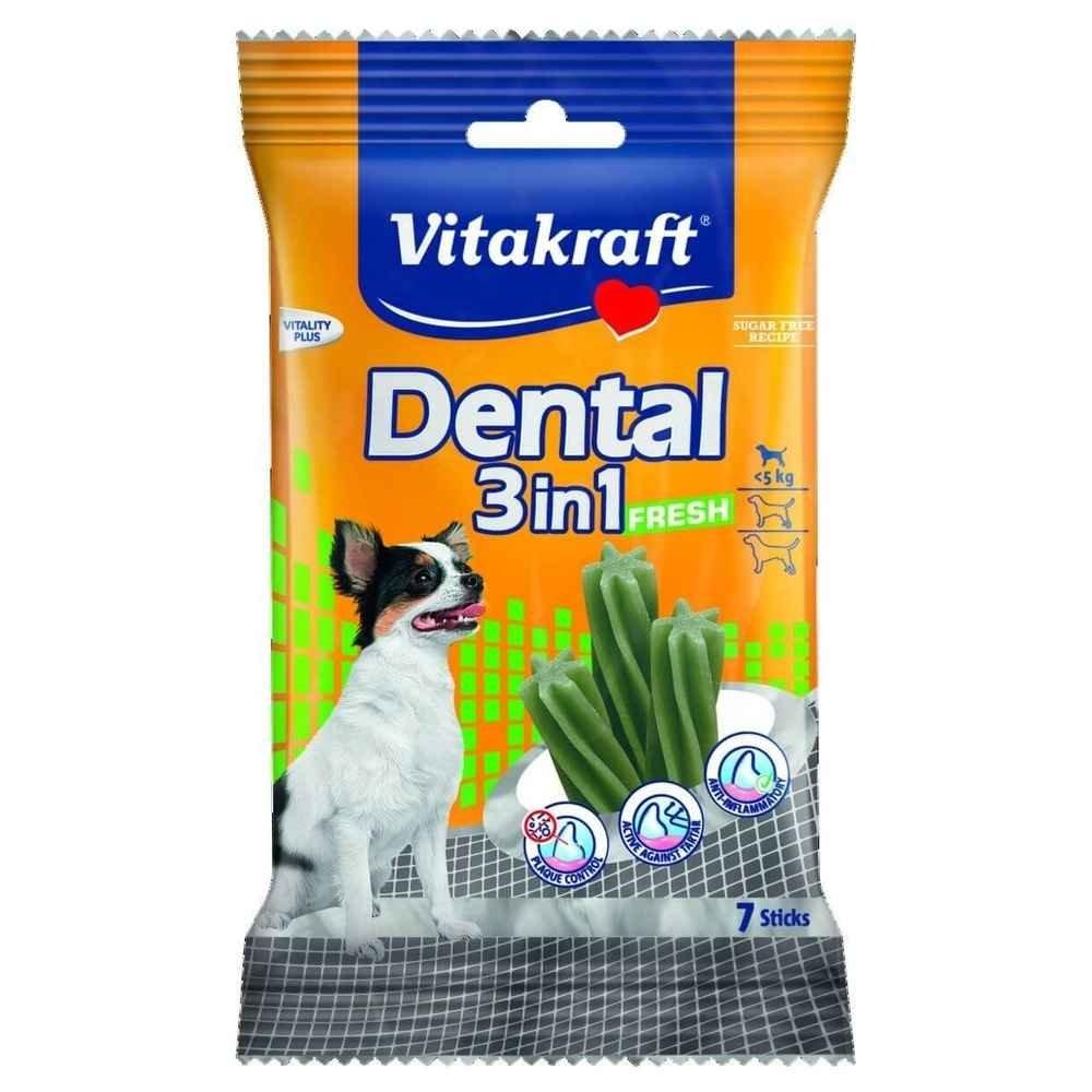 Vitakraft Zahnpflegesticks für sehr Kleine Hunde bis 5 kg, Größe XS, Dental 3in1, 30914, 7 Sticks Größe XS
