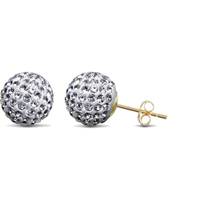 f1bb3d26f Jewelco London Ladies 9ct Yellow Gold White Round Crystal Disco Ball Stud  Earrings, 10mm: Amazon.co.uk: Jewellery