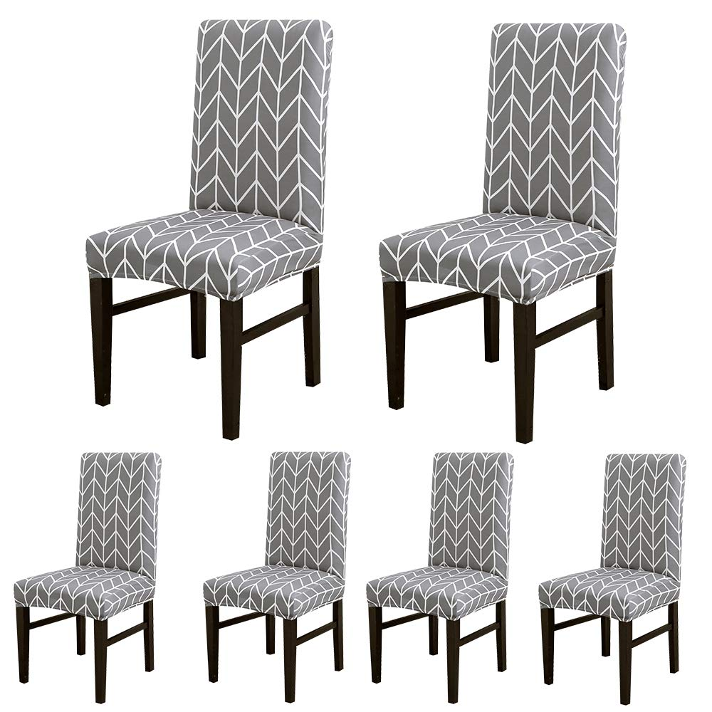 ColorBird Geometric Series Spandex Dining Chair Slipcovers Removable Universal Stretch Chair Protective Covers for Dining Room, Hotel, Banquet, Ceremony (Set of 6, Gray Arrow) by ColorBird