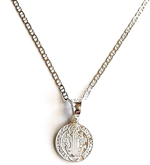 """Charm,18/"""" Italian Box Chain Sterling Silver High Polished St Benedict Pendant"""