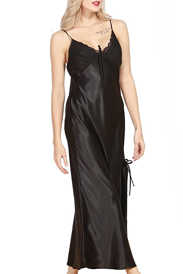 b225ab2cb3 iooho Women s Satin Nightgown Long Slip Sleeveless Sleepwear Night Dress  Sexy Night Wear for Women Black at Amazon Women s Clothing store