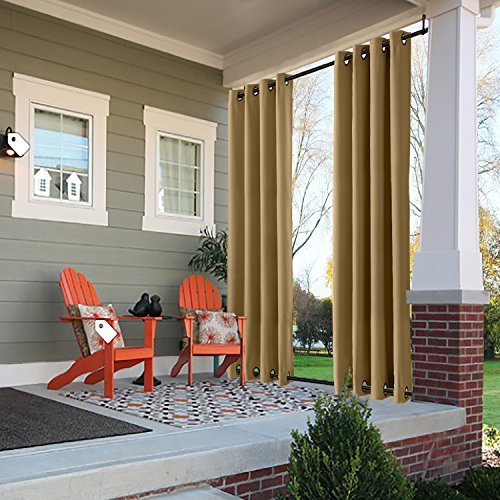 (ChadMade Windproof Outdoor Curtain with Top Bottom Grommet Wheat 84