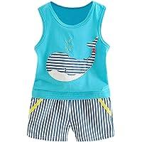 Fossen Recién Nacidos Bebe Niño Camiseta sin Mangas de Ballena Estampado y Pantalones Cortos Verano Ropa Conjunto