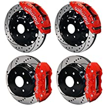 """NEW WILWOOD COMPLETE 16"""" FRONT & 14.25"""" REAR DISC BRAKE KIT WITH BRAKE LINES & FITTINGS, DRILLED ROTORS, BRAKE HATS, RED CALIPERS, PADS, FOR 1999-2013 CHEVY GMC CADILLAC TRUCKS SUVS THAT HAVE OE DUAL PISTON REAR CALIPERS SILVERADO SIERRA SUBURBAN AVALANCHE 1500 TAHOE YUKON YUKON XL 1500 & ESCALADE"""