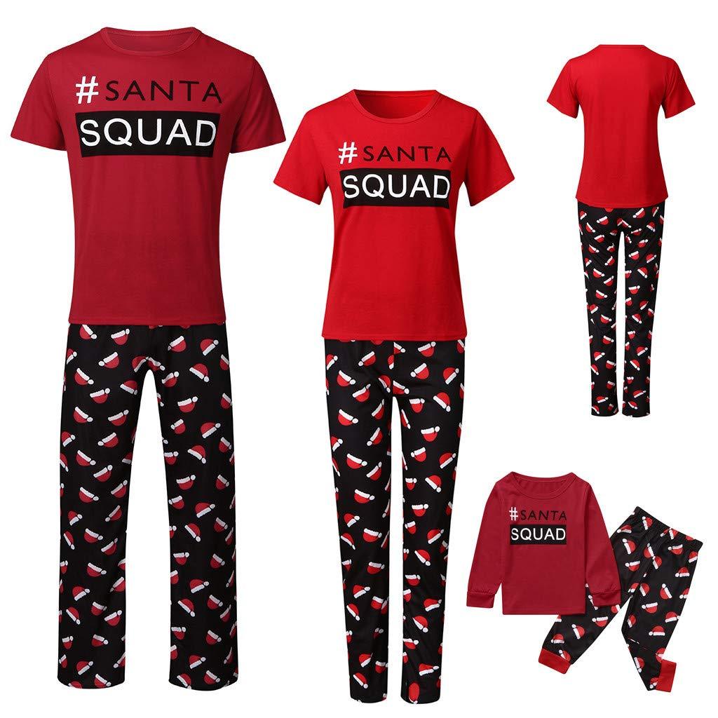 Letter Print Tops and PJ Pants Sleepwear Santa Squad Pyjamas Christmas Family PJs