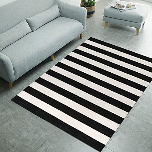 Seavish Black and White Striped Outdoor Indoor Farmhouse Rug 47 x 71 , Cotton Woven Rugs Washable Carpet for Porch Laundry Room Living Room Dining Room Bedroom
