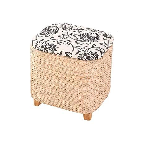 Miraculous Amazon Com Yingying Natural Woven Ottoman Footstool Machost Co Dining Chair Design Ideas Machostcouk