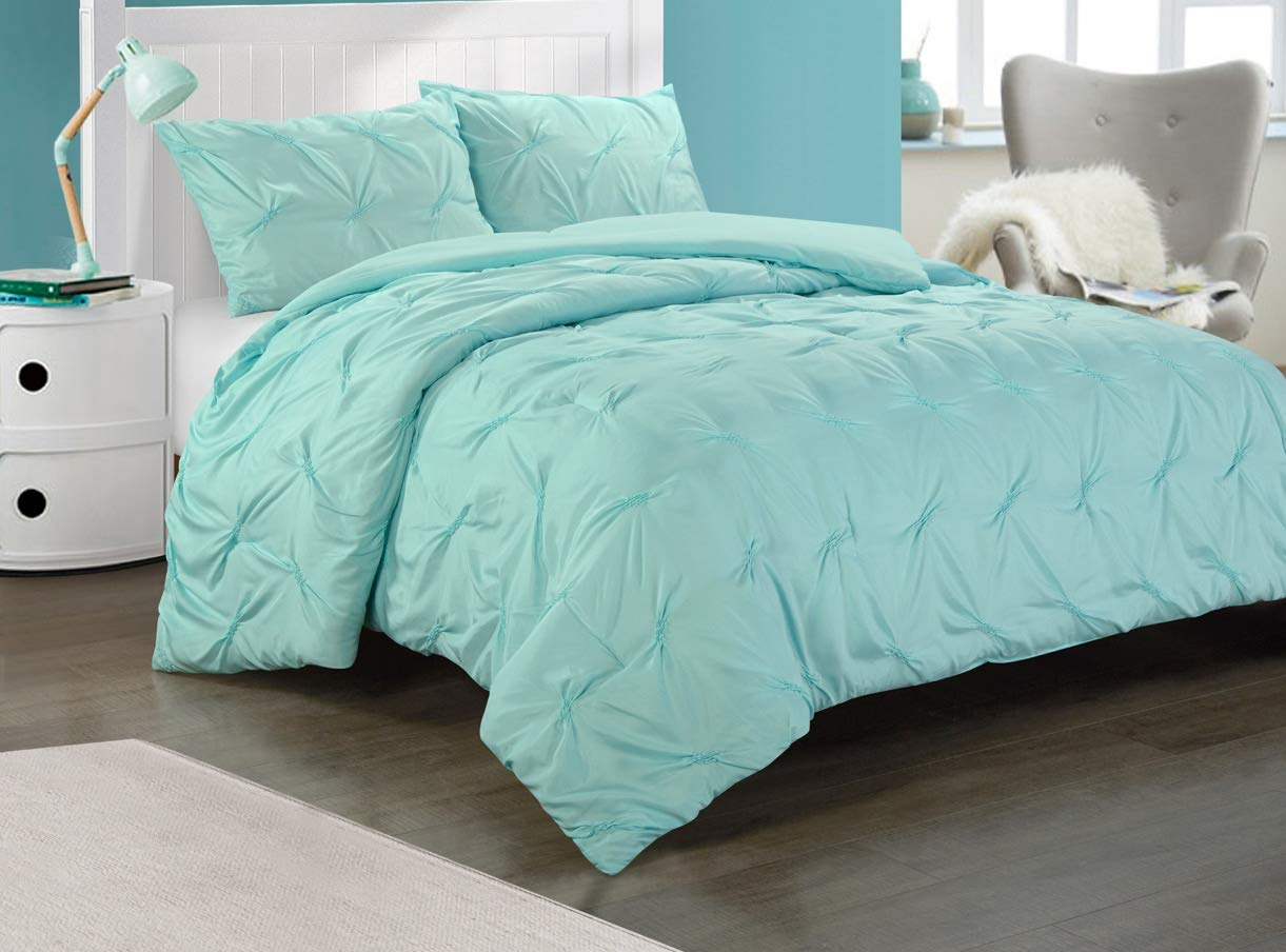 Heritage Club Ultra Soft – Sierra – Hypoallergenic – for Boys and Girls – All Season Breathable 2 Piece Kids and Teen Solid Pintuck Comforter Set – Twin XL – Alternative Microfiber, Mint