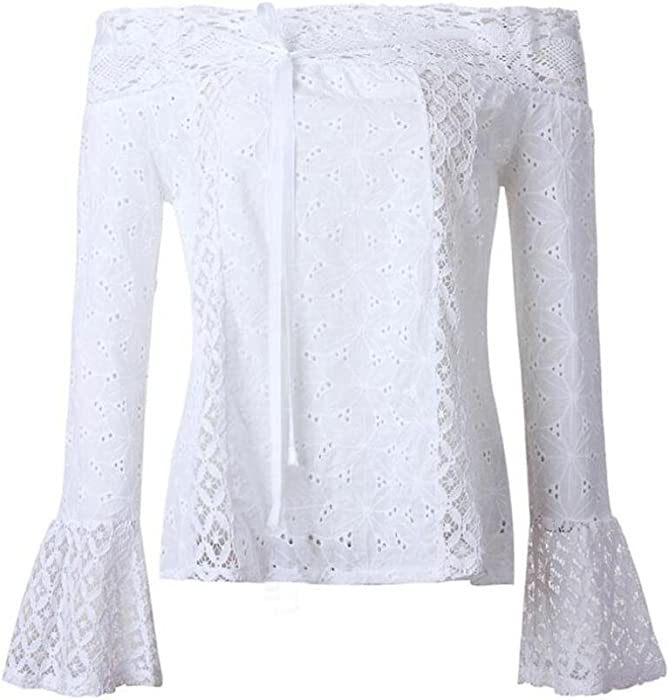ddfd942b106f5 Syban T-Shirt Women Off Shoulder Long Sleeve Lace Loose Blouse Tops (EU-.  Back. Double-tap to zoom