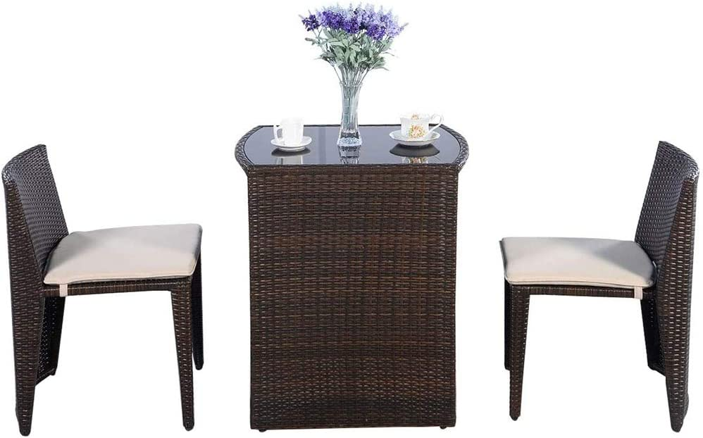 3-Piece Rattan Table and Chair Set, Creativity Mini Rattan Wicker, Two Chairs and a Table Coffee Table, for Outdoor Terrace Garden Lawn, Garden Bistro