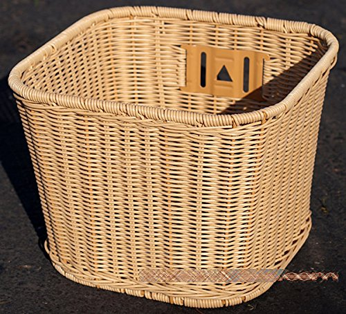Made in Taiwan, Fito Plastic Cane Wicker Woven Mounting Basket, Mid-Size Light Brown, 10.5