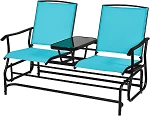 Giantex 2 Person Outdoor Double Glider Chair, Mesh Fabric Rocking Chair w/Center Tempered Glass Table, Rocking Loveseat for Patio, Garden, Poolside, Balcony (Turquoise)