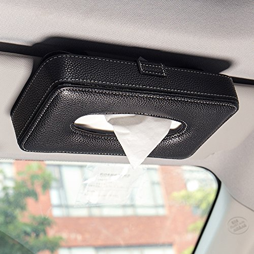 Mr.Ho Luxury Black Leather Car Visor Tissue Holder Mount, Hanging Tissue Holder Case for Car Seat Back, Multi-use Paper Towel Cover Case With One Tissue Refill for Car & Truck Decoration