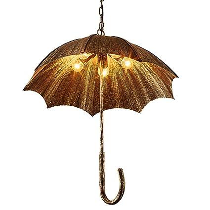 Shubiao Retro Creativo Ajustable Paraguas de Hierro Forjado Lámpara de Estilo Industrial Hierro Viejo Lámpara de
