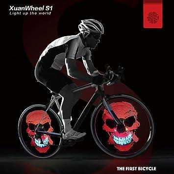 XuanWheel luz led para bicicleta, para ruedas, radios, 96 ledes RGB, con aplicación por Bluetooth, ...