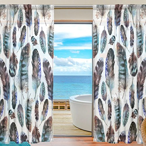 SEULIFE Window Sheer Curtain, Tribal Ethnic Boho Animal Bird Feathers Voile Curtain Drapes for Door Kitchen Living Room Bedroom 55x84 inches 2 Panels by SEULIFE