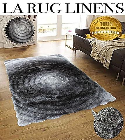 Shimmer 8x10 Shag Shaggy Modern Contemporary Gray Large Rug Carpet Area Rug Circles Viscose Yarns Hand Tufted Two Toned 3D Pattern Bedroom Living Room-SAD 281 Gray (Big Circle White Fur Rug)