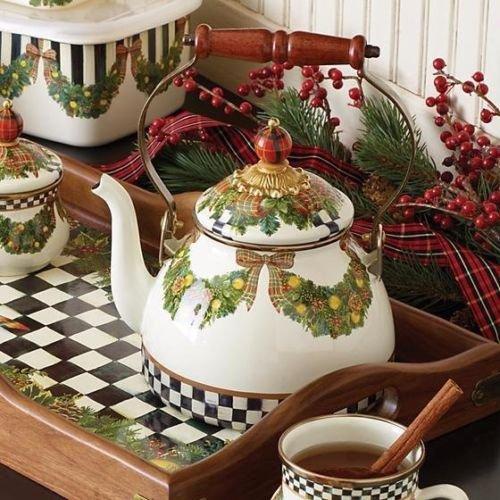 MacKenzie-Childs, Evergreen, White Enamel Tea Kettle, 2 Quart Capacity