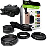 Smartphone Camera Mobile Macro Lens for iPhone and Android phones. Set of 5 - Fisheye, Wide Angle, Macro, Telescope and CPL lenses for HD quality photos. With FREE case, carabiner and clip-on holder.