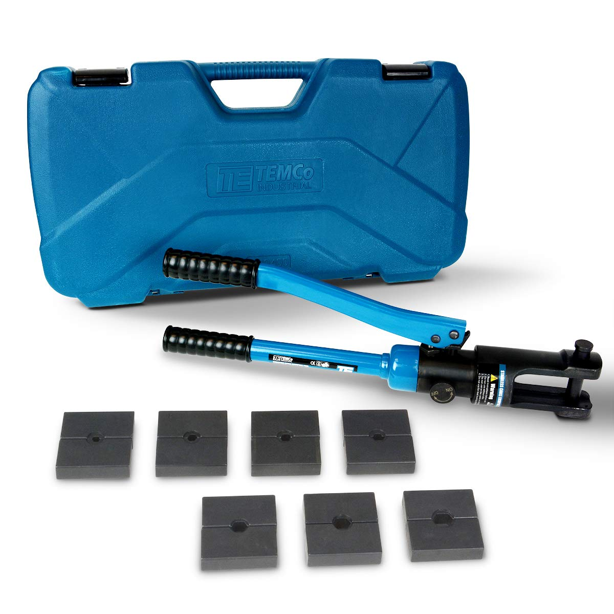 """TEMCo Hydraulic Crimping Tool for Stainless Steel Cable Railing Fittings – 11 US Tons - 1/16"""" to 1/4"""" Cable Fitting Compatibility"""