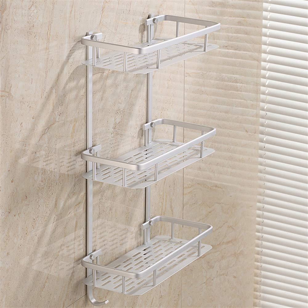 Sturdy Storage Unit Three-Layer Space Aluminum Solid Rectangular Bathroom Kitchen   Bathroom Aluminum Shelf with Double Hook