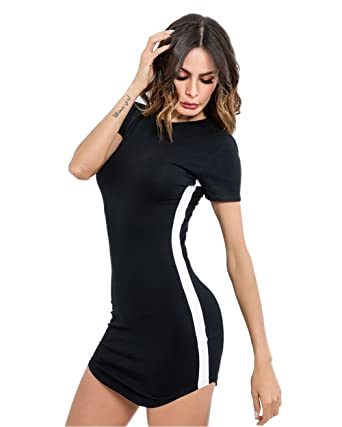 8bc89aa5e6 Image Unavailable. Image not available for. Color: gagaopt Women Sexy  Cotton Basic Mini T Shirt Dress Bodycon ...