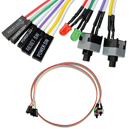 amazon com 4in1 pc power reset switch hdd led cable light wire kit rh amazon com computer power switch pins Wiring LED Switch