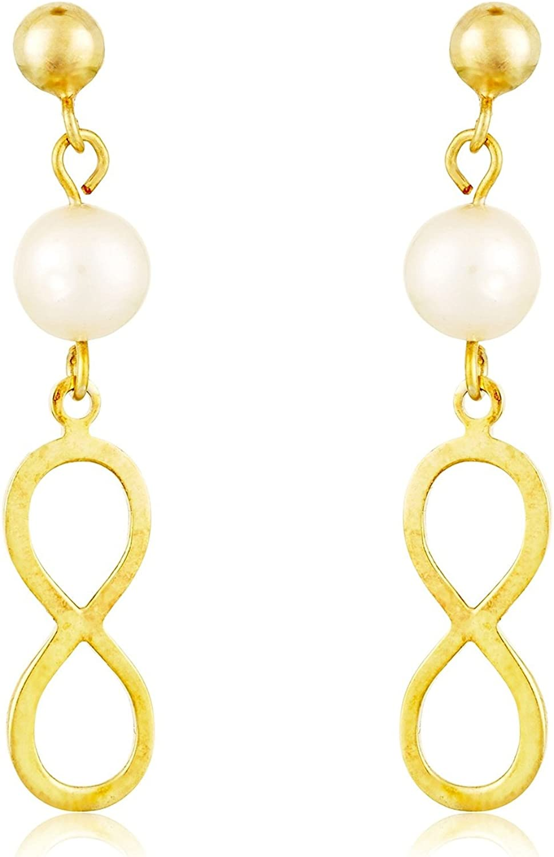 Córdoba Jewels | Pendientes en plata de Ley 925 bañado en oro. Diseño Infinito Perla Oro
