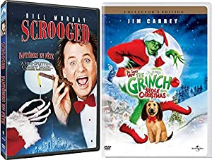 Dr. Seuss How The Grinch Stole Christmas DVD + Scroodged Christmas Movie Holiday Bundle Double Feature Classic Movie Set by Warner Home Video