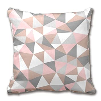 Blush And Gray Geometric Pattern Throw Pillow Case Home Decor