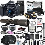 Canon EOS 77D DSLR Camera Bundle with Canon 18-55mm STM Lens + Canon 75-300mm Lens + 500mm Preset Lens + Professional Video Accessory Bundle includes ECKO Headphones, Microphone, LED Light and More