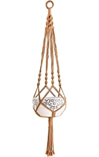 Mkono Colorful Macrame Plant Hanger Indoor Outdoor Hanging Planter Basket  Cotton Rope 4 Legs 40 Inch