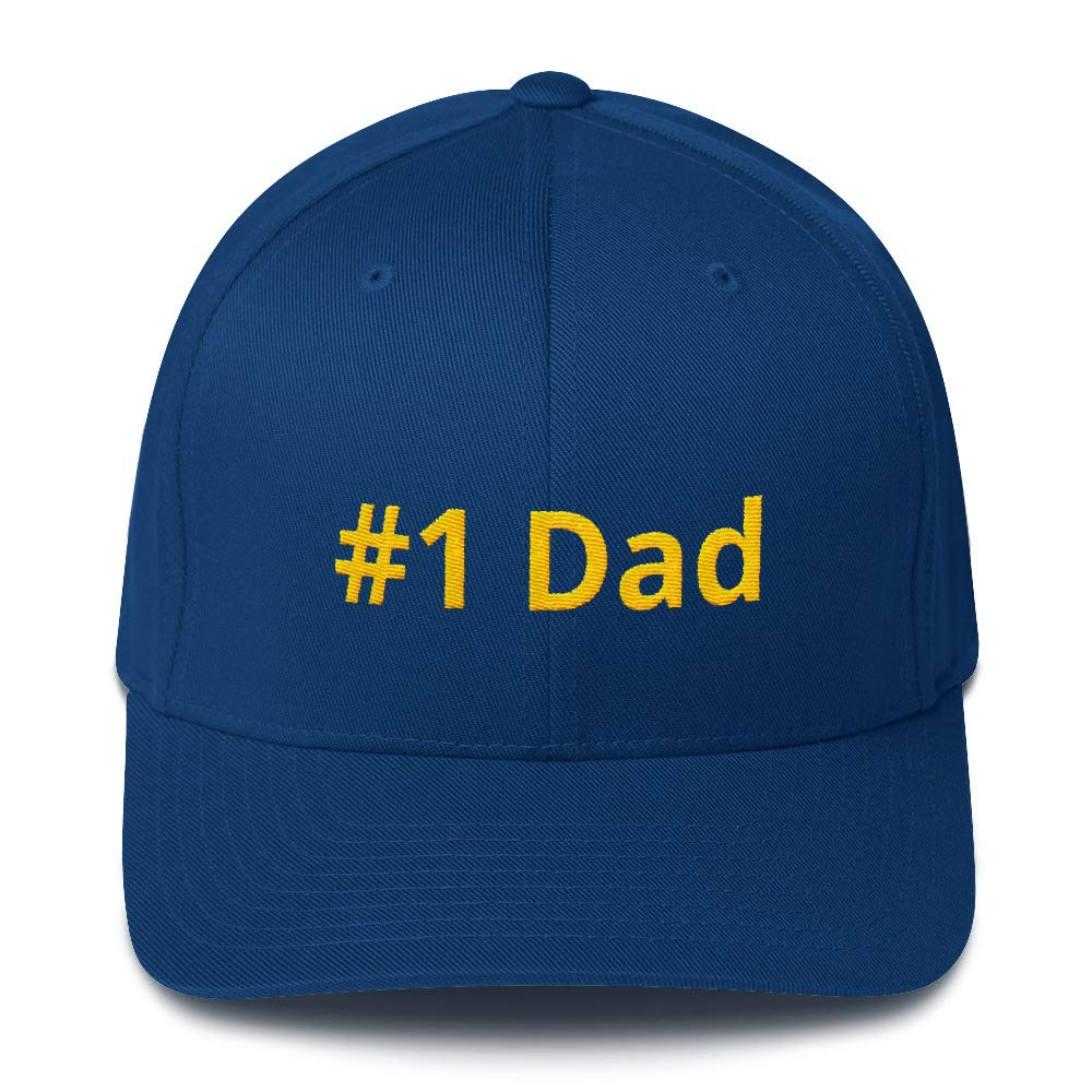 Meldettes-2 Mens Structured Twill Cap Hat Embroidered #1 Dad Royal Blue